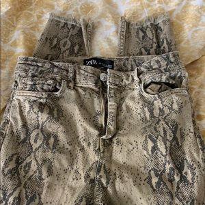 Zara snake skin print jeans